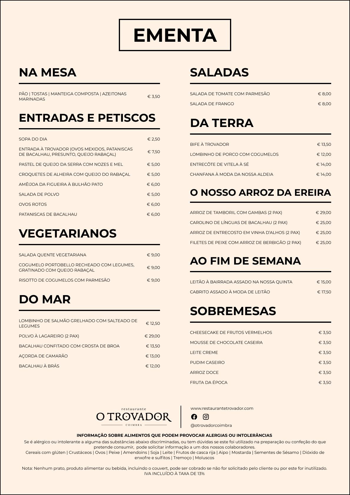 ementa em português